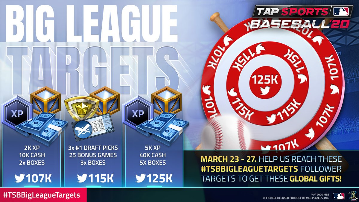 It's time for #TSBBigLeagueTargets!  Help us reach these Follower Targets, and we'll send EVERYONE the gift matching the target in TSB20!  The 1st one is easy, once we notice we go past 107K Followers, we'll tweet again once the gift is out!  Share, RT and get us those followers! https://t.co/CbjV7gQjME