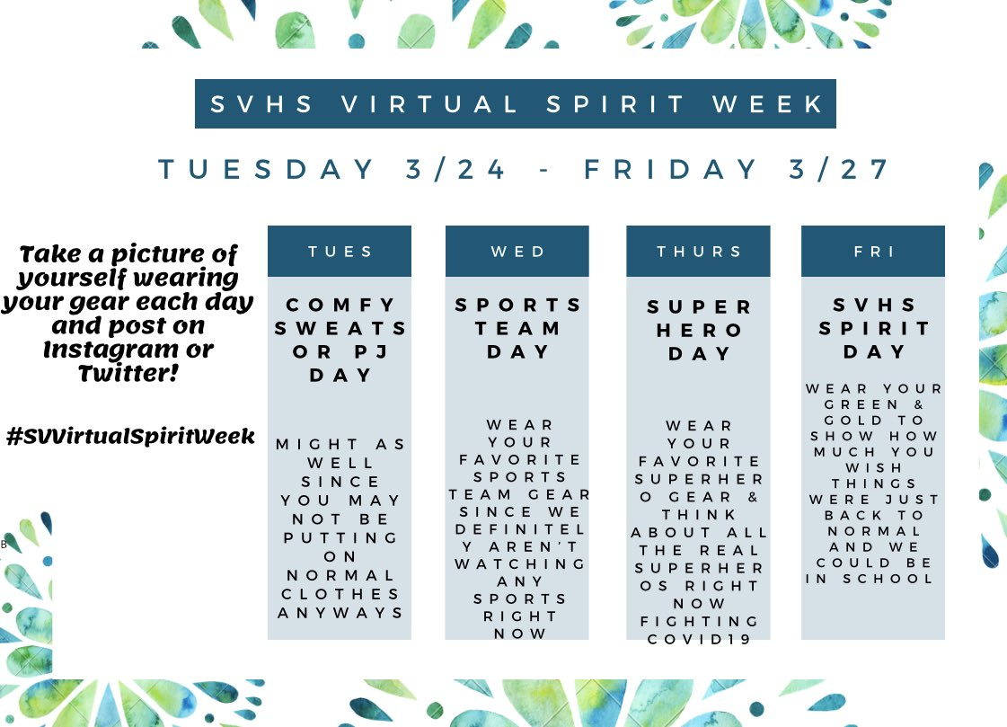 Dress up for virtual spirit week and tag us in your posts! https://t.co/7aDUy4rigC