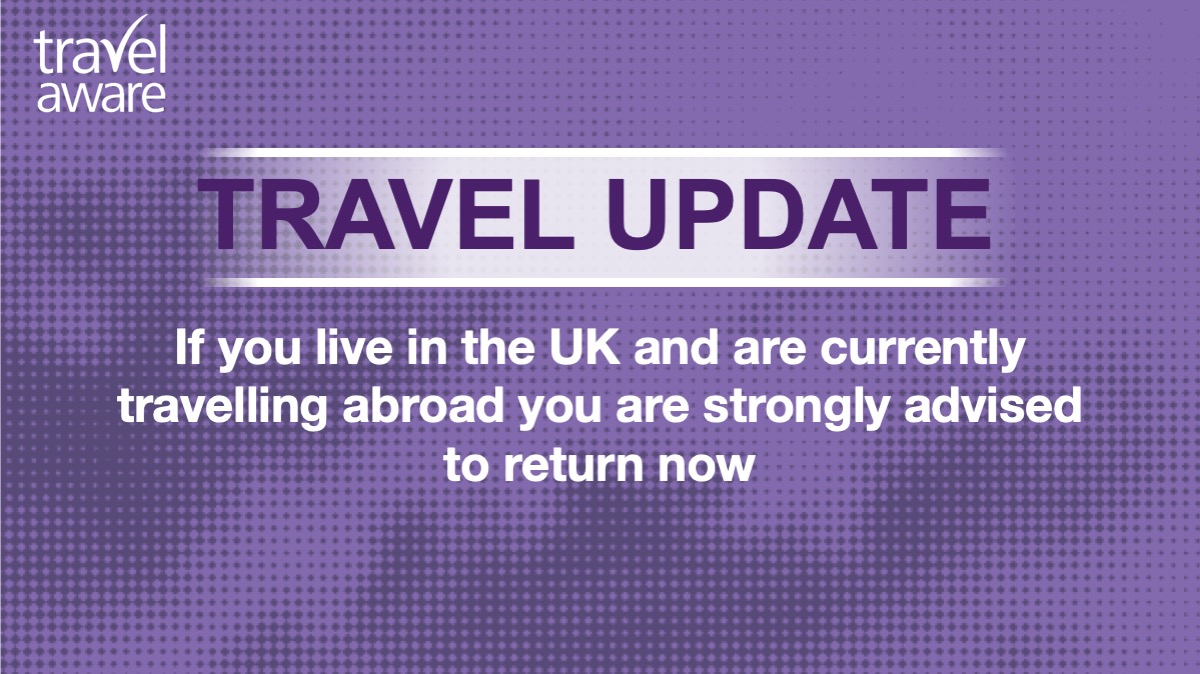 Travel update:  If you live in the UK and are currently travelling in the US, you are strongly advised to return now, while there are still commercial routes available.  Many airlines are suspending flights and many airports are closing, preventing flights from leaving.  THREAD 1 https://t.co/wdLnBxCqBJ