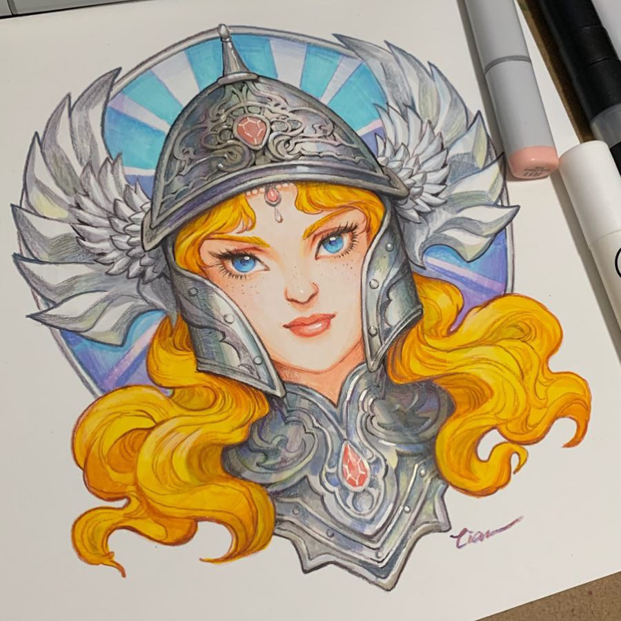 Thought it might be interesting to see my two colored versions of Aurora? One is digital and one is traditional with market and pencil. Hope to see your take on them!!