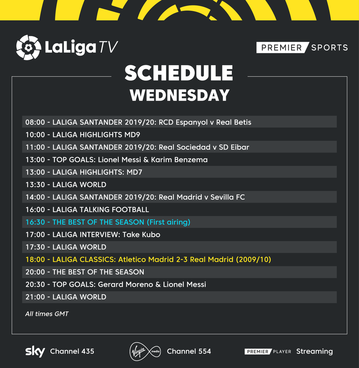 📅 𝗪𝗘𝗗𝗡𝗘𝗦𝗗𝗔𝗬 𝗦𝗖𝗛𝗘𝗗𝗨𝗟𝗘 📺 The best of the season and more #LaLigaClassics today on #LaLigaTV! 🏡 #StayAtHome