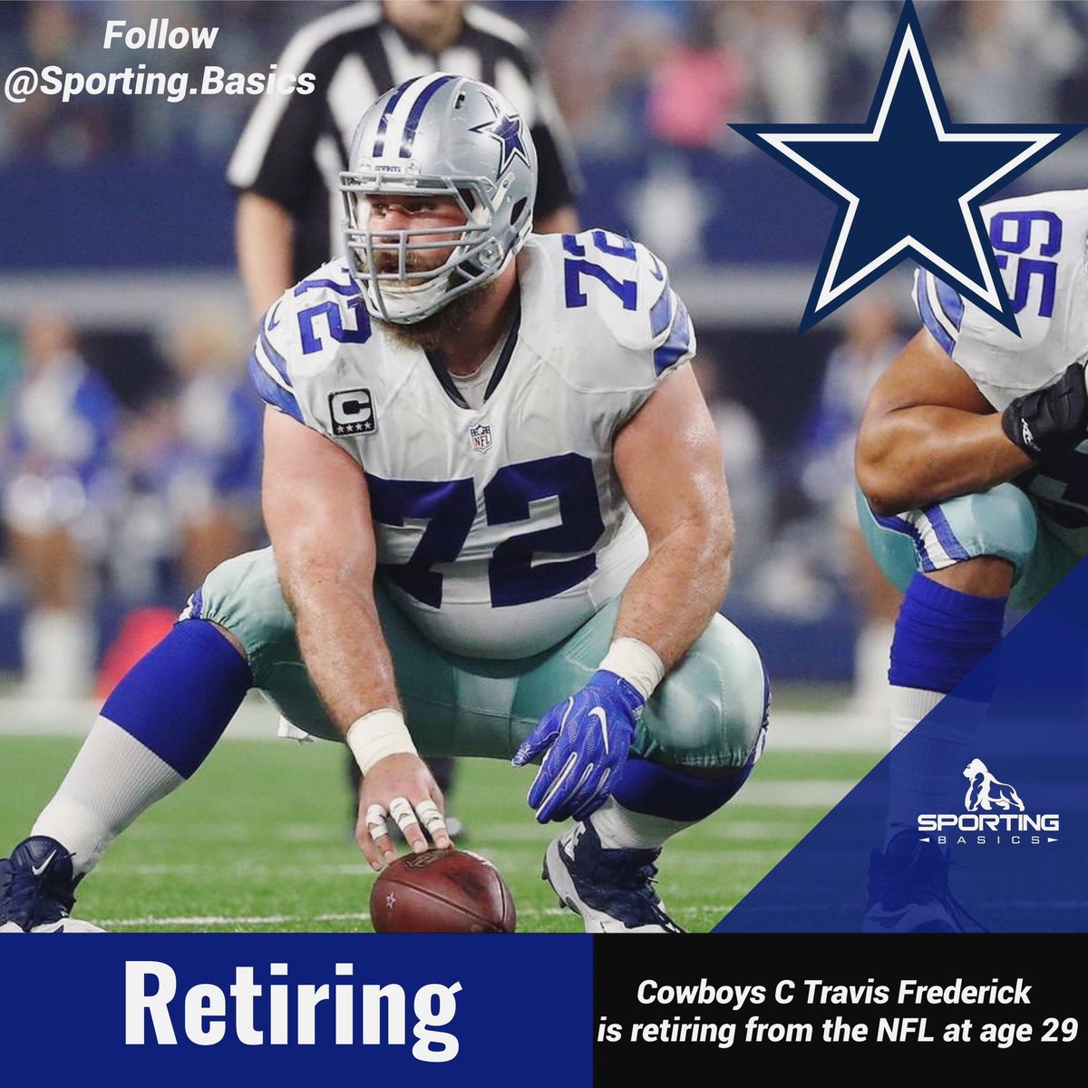 Cowboys C Travis Frederick is retiring from the NFL at age 29  -Follow me for more #americanfootball #nfl #football #sports #touchdown #sport #superbowl #nflnews #collegefootball #gfl #nflfootball #footballamericano #ers #dallas #americanfootballplayer #travisfrederickpic.twitter.com/Vjvbb1E1Rn