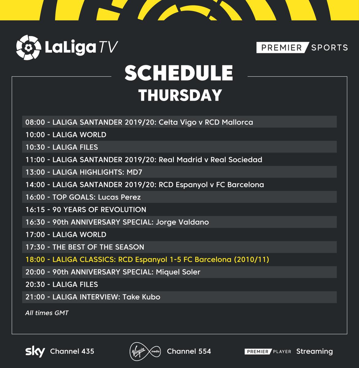 📅 𝗧𝗛𝗨𝗥𝗦𝗗𝗔𝗬 𝗦𝗖𝗛𝗘𝗗𝗨𝗟𝗘 📺 Pochettino v Guardiola in today's #LaLigaClassics on #LaLigaTV! 🏡 #StayAtHome