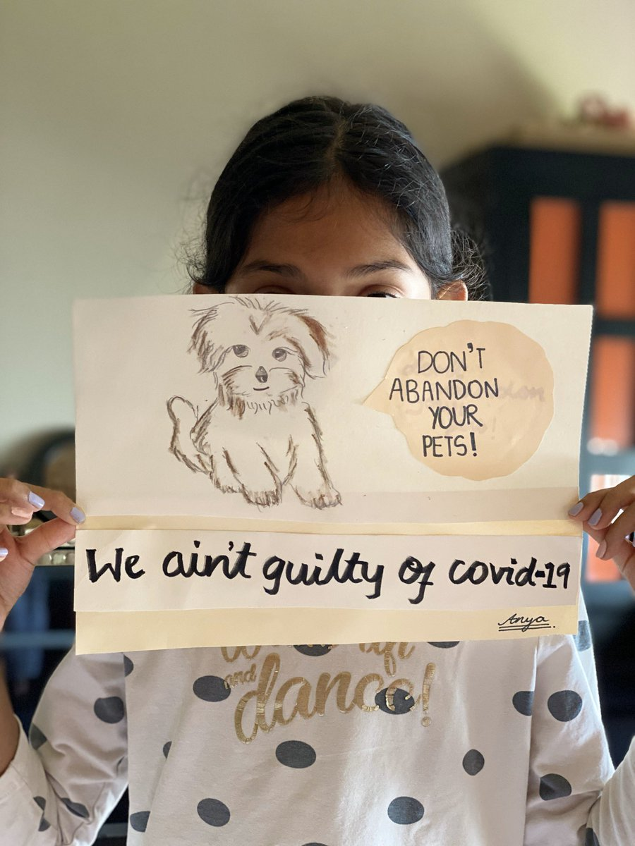 Kids always show us the wAy.. my daughter making posters for assholes who r abandoning their pets.. #Anya