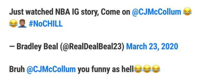 CJ向Lillard開涮Murray的糗事,兩人仰頭大笑,米切爾和Beal也加入了!(影)-籃球圈