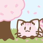 Image for the Tweet beginning: #配色アイデア手帖 買って44ページの桜並木の散歩道参考に描いてみた。 (水色だけ勝手に足した)