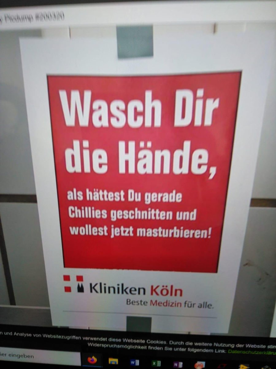 #Germany #Köln #Coronavirus  Wash your hands as if you had cut chillies and wanted to masturbate now.  -Köln clinic (best medicine for all) pic.twitter.com/NbJsJsah4Z