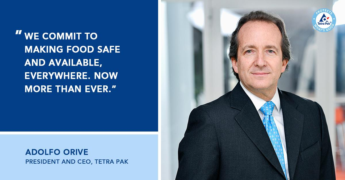 """""""At Tetra Pak we are taking extraordinary measures to ensure we deliver on our promise to protect what's good,"""" says Adolfo Orive- President and CEO Tetra Pak amidst COVID-19 outbreak.  Learn more at short.url/aBcXyZ https://t.co/S2eI4vbsZf"""