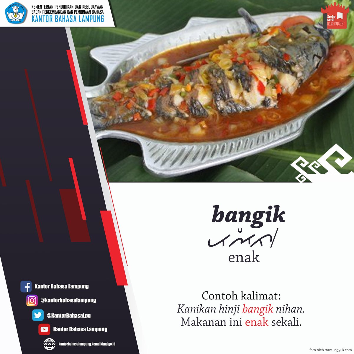 Halo, #SahabatBahasa tabik pun! Kali ini Serba-serbi Lampung membahas kata 'enak' dalam bahasa Lampung.  Nah, kalau 'enak'' dalam bahasa daerah kalian apa? Sebutkan di kolom komentar ya! #serbaserbilampung #bahasaIndonesia #bahasadaerah #lampung #bangik #kantorbahasalampungpic.twitter.com/K4uqEoycrG