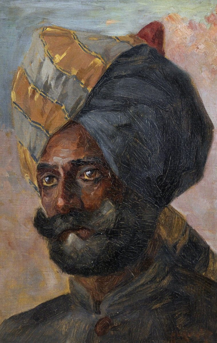 """Hugo Vilfred #Pedersen (1870-1959) #Danish. Head of a Bearded Indian Man with a Turban, oil on canvas, signed, 15.5"""" x 10.5"""" (one of three by artist) @JNAuctioneers #finepaintingauction MAR 25. EST: £400-£600."""