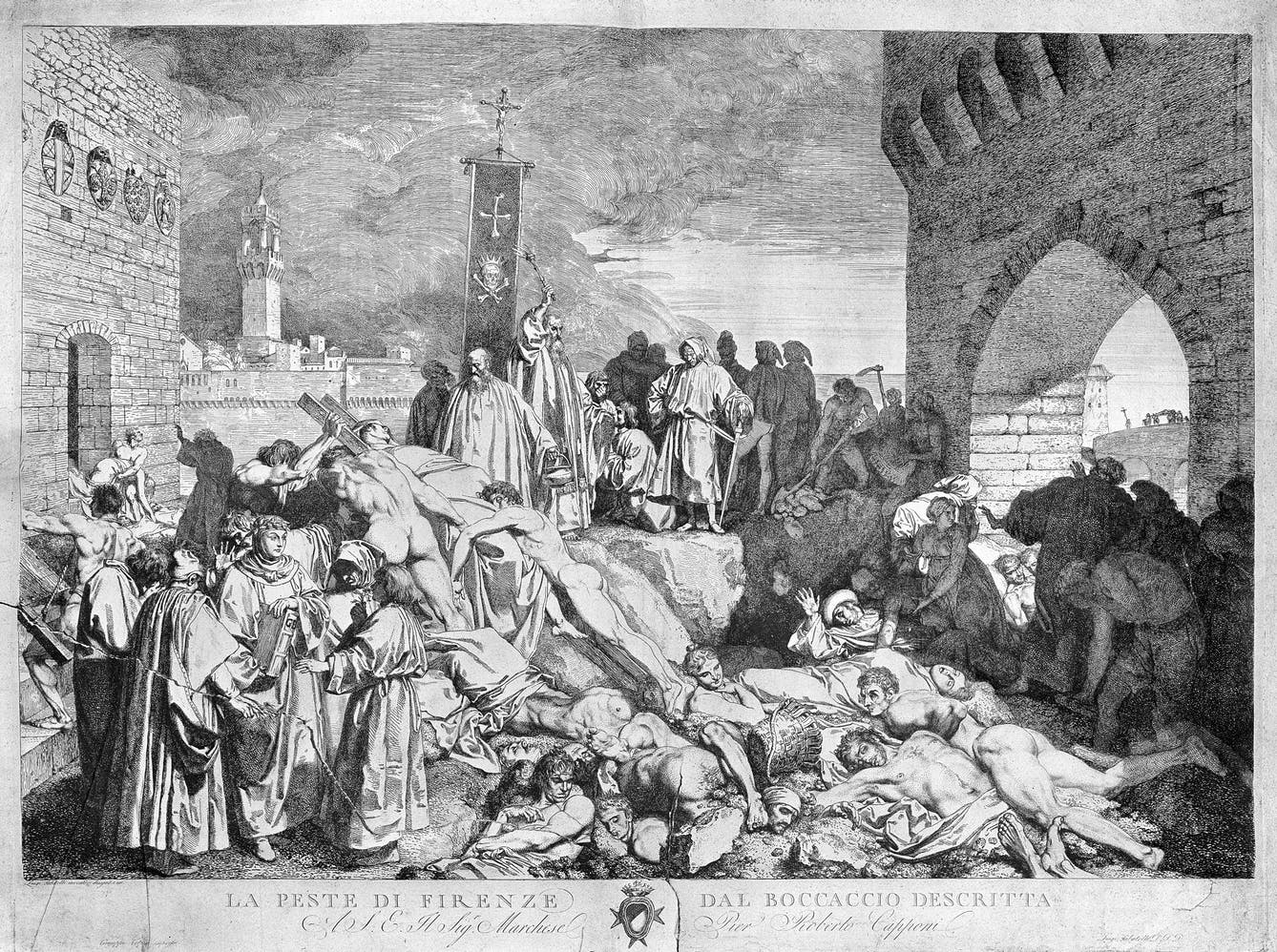 The plague of Florence in 1348, as described in Boccaccio's Decameron. Etching by L. Sabatelli after himself., Giovanni Boccaccio