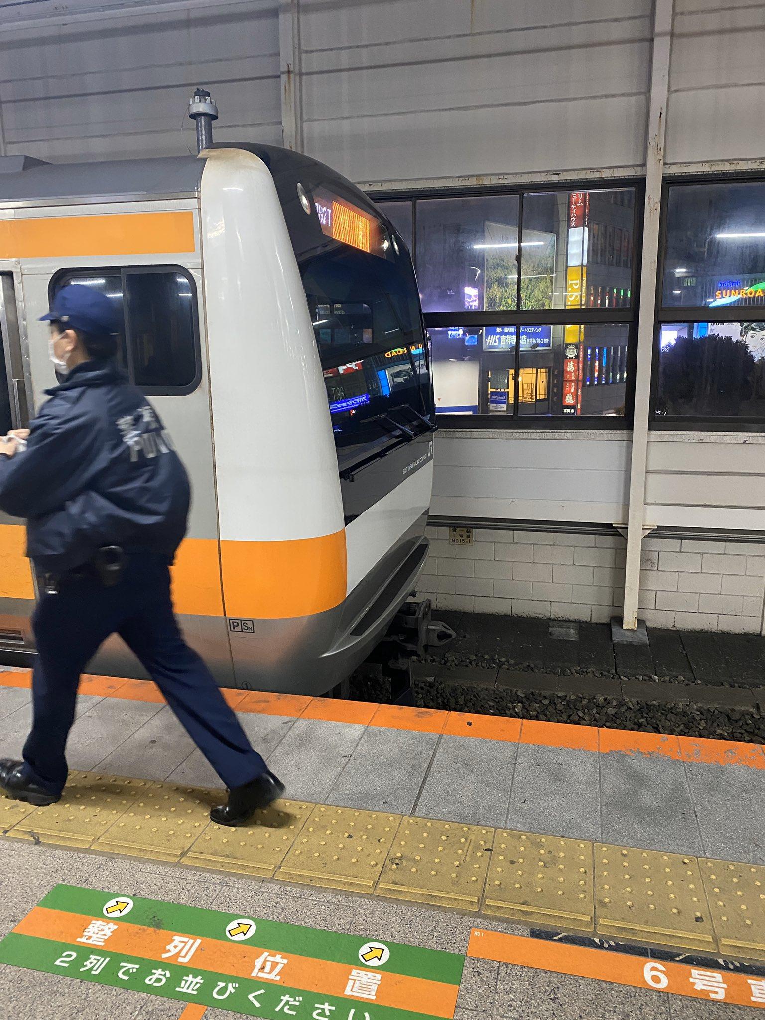 中央線の吉祥寺駅で人身事故が発生した現場の画像