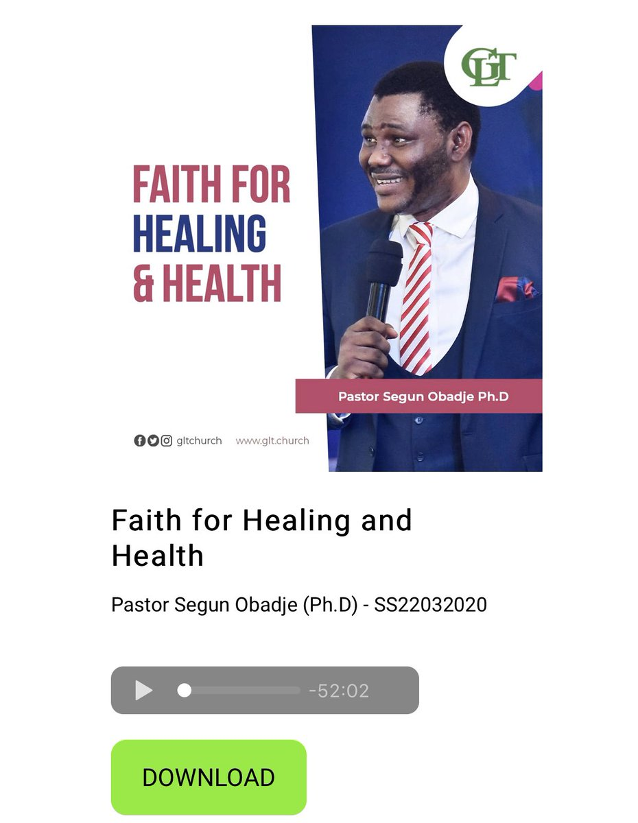 God wants you to prosper and enjoy good health, as your soul also prospers.  Download @PstSegunObadje latest message on the subject of #Healing and #Health for FREE. Click this link to download.   https:// glt.church/freedownload/      #faithInGod #GLTChurch<br>http://pic.twitter.com/wQj4vJufqW