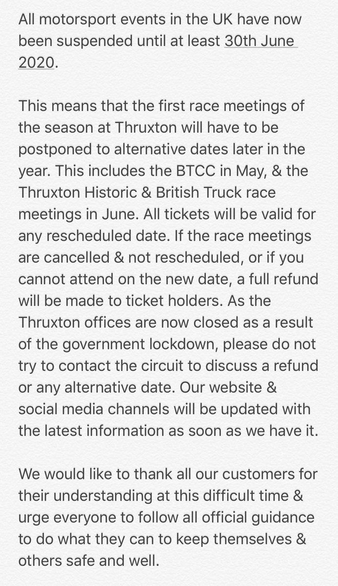 THRUXTON RACE CIRCUIT – UPDATE TUESDAY 24 MARCH 2020 https://t.co/hlV304cFHE