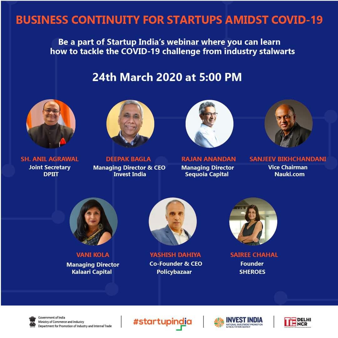 test Twitter Media - Business Continuity for Startups amidst #COVID19: Be a part of Startup India's webinar on 24th March, 5:00 PM where you can learn from industry stalwarts on how to tackle the Coronavirus challenge.   Register ✍🏼https://t.co/vrihy8zJBn https://t.co/aD04jmwKDS