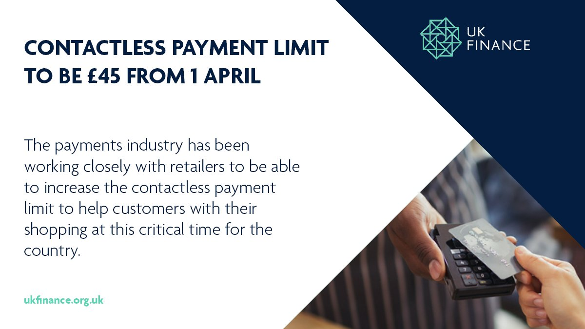 The spending limit on contactless payments is to be increased from £30 to £45 from 1 April 2020. Find out more about it on our Contactless Limit FAQs page here: https://bit.ly/contactlessFAQsMar20 …