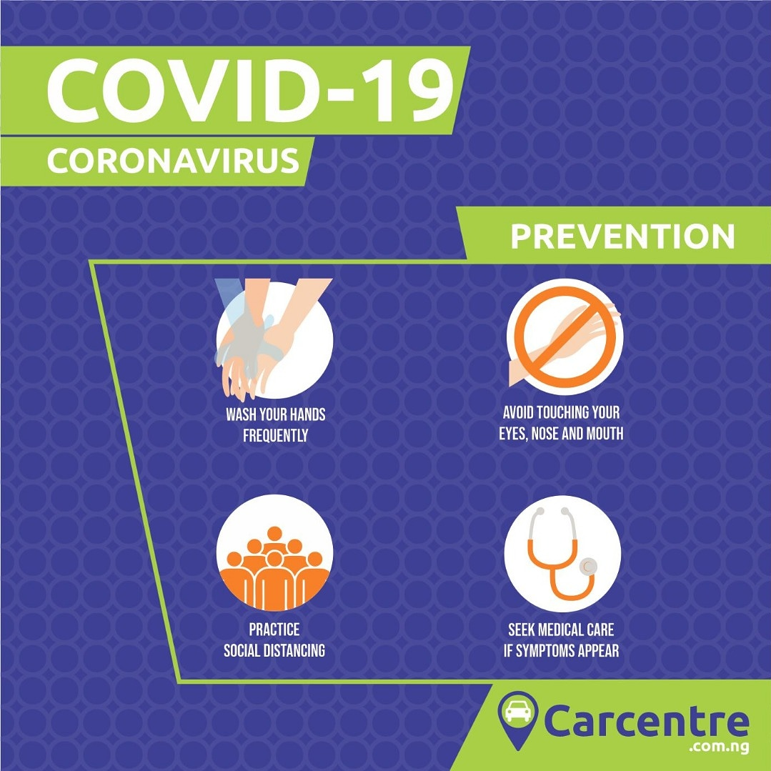COVID 19 Prevention:  Wash your hands frequently  Avoid touching your eyes, nose and mouth  Practice social distancing  Seek medical care if symptoms occur  #carcentre #buycars #sellcars #usedcars #tokunbocars #foreignusedcars #newcars #covid19 #stayingsafe #socialdistancingpic.twitter.com/YhHMcJXsLB
