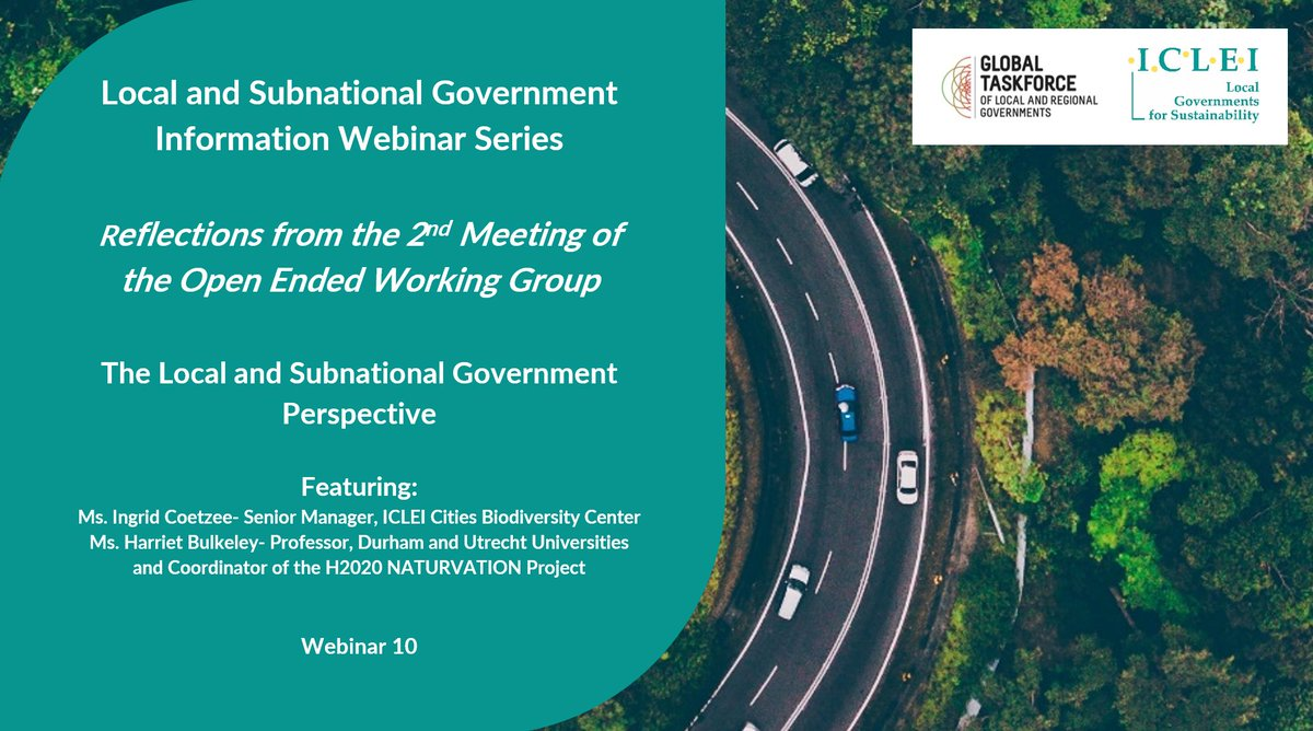 Register to join for our next local & subnational advocacy for #nature webinar in our #Post2020 series: Reflections from @UNBiodiversity's Open Ended Working Group 2 feat. @harrietbulkeley  26/03/2020  10AM CAT https://t.co/snvECY5tgs 3:00CAT https://t.co/pdKPPjckiK @4Post2020BD