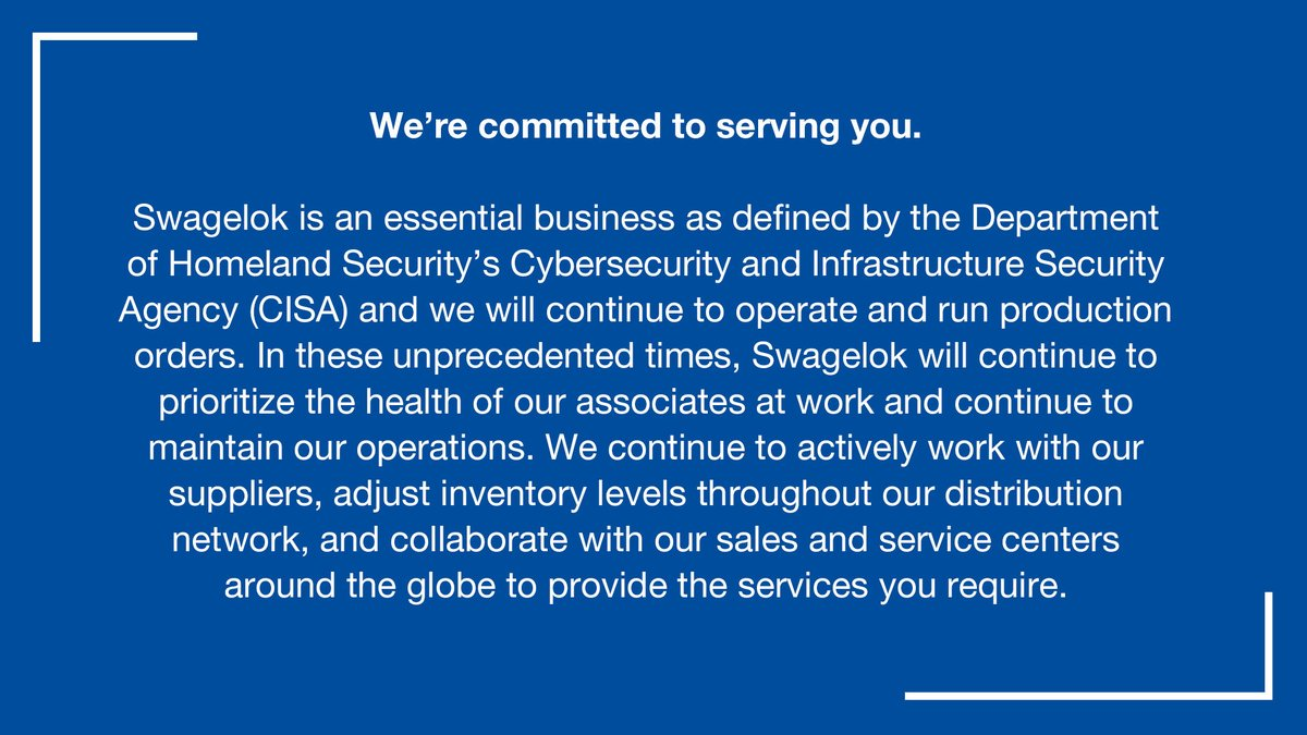 Swagelok will remain open as an essential business. We are committed to keeping our associates safe while continuing to play an important role in the manufacturing supply chain that supports our global economy. More information can be found here. https://t.co/1uClxzuEPs https://t.co/4FfYRqF7Rt