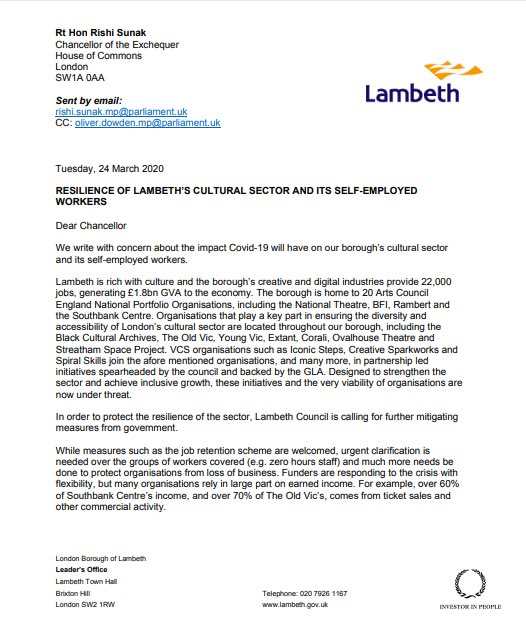 Today I joined with Lambeth based orgs to write to the Chancellor about the resilience of our Borough's cultural sector, and our self-employed workers and residents. We are calling on the government to introduce more mitigating measures to defend them during the Covid-19 crisis https://t.co/prQkaiOrYU