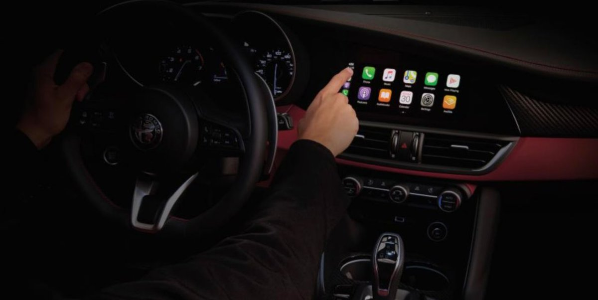 For @AlfaRomeo 2020 vehicles is a standard 8.8-inch center touchscreen display offering a selection of interactive widgets and a horizontal scroll layout that provides personalization options and enhanced interactivity and visibility.   Screen shown with Apple CarPlayTM https://t.co/ygRNggWwdL