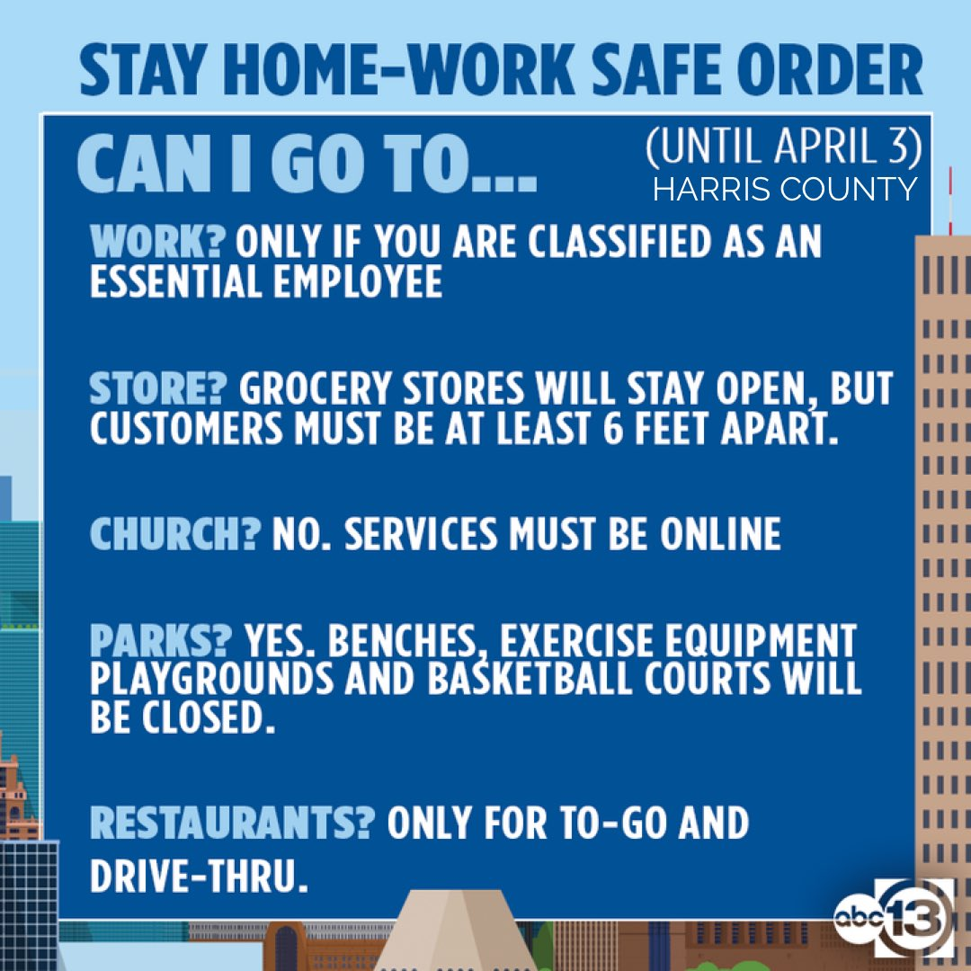 STAY HOME, WORK SAFE: Those who VIOLATE this Harris County order will get fined or spend up to 180 days in jail.  More about the guidelines: https://t.co/cMBE8bcBzb https://t.co/igAe6oL7g8