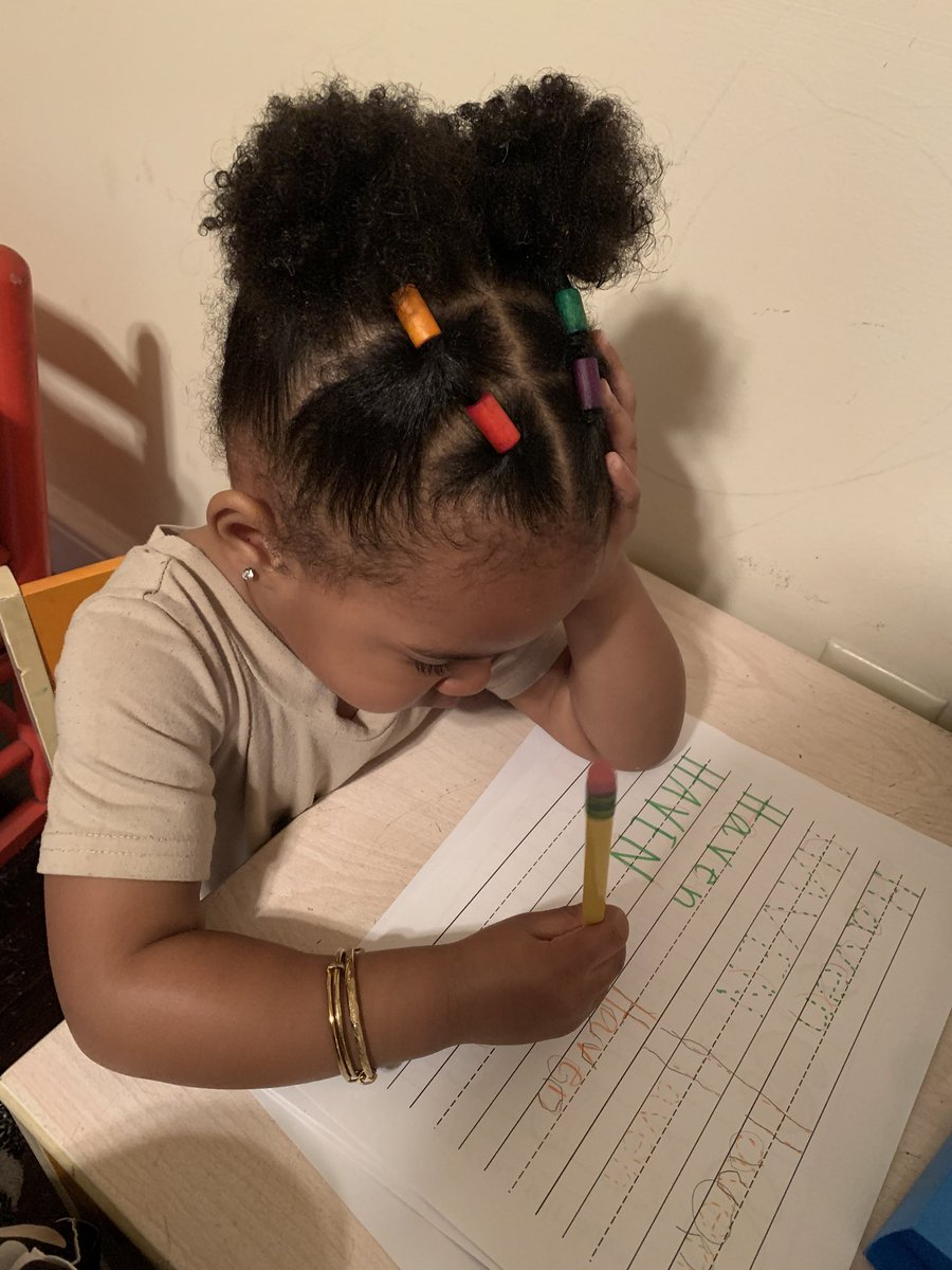My granddaughter at 2 years old; hand on head, handling her business✍🏽❗️📓