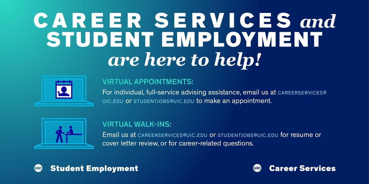 As we continue to navigate the world from home, shoutout to our partner university @thisisUIC for their continued dedication in providing students with useful online resources. Learn more about their Career Services and Student Employment opportunities below ⤵️