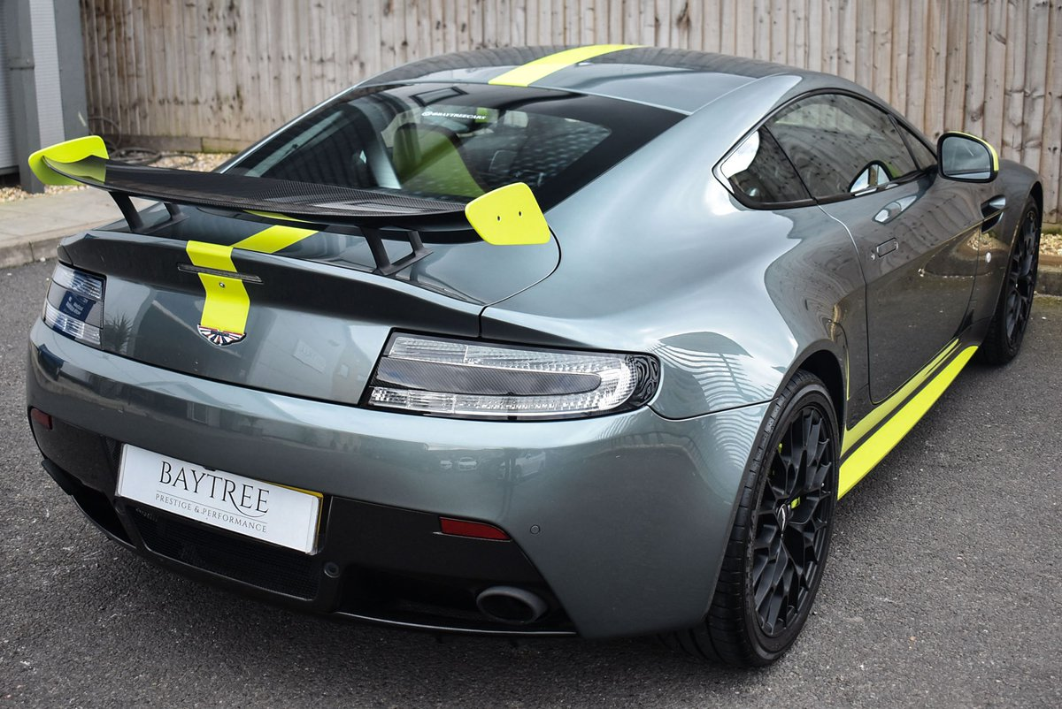 Baytree Cars Ltd على تويتر Aston Martin Vantage Amr Finished In Sterling Green With Painted Lime Green Stripe And Forged Aluminium Wheels This Car Comes With Amr Aerokit Carbon Front Splitter