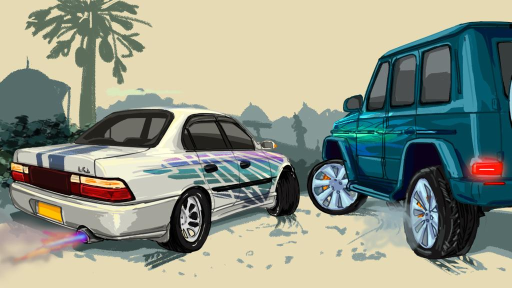 Corolla Vs Gclass painting, My favourite wallpaper (home-made wallpaper) #corolla #benz #art #Cars #carwallpaper #wallpaper #CONFINEMENTJOUR8 #staysafe #COVID19 #duringmy14dayquarantine