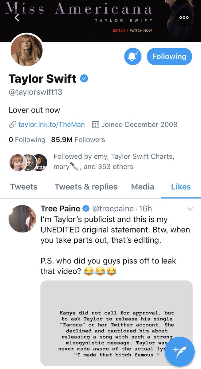 Taylor Swift News On Twitter Tw Taylor Has Liked Her Publicist Treepaine S Post On Twitter Which Has Now Surpassed 160k Likes