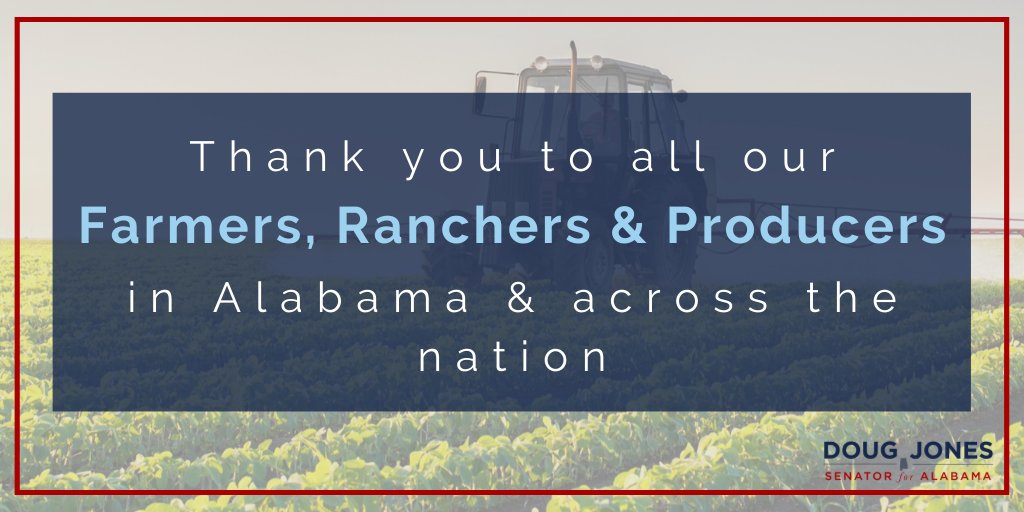 Today, on #NationalAgDay, I want to thank those in the agricultural industry who are ensuring continued access to food, fuel and clothing. Alabamians and folks across the United States depend on the important work you do every day.