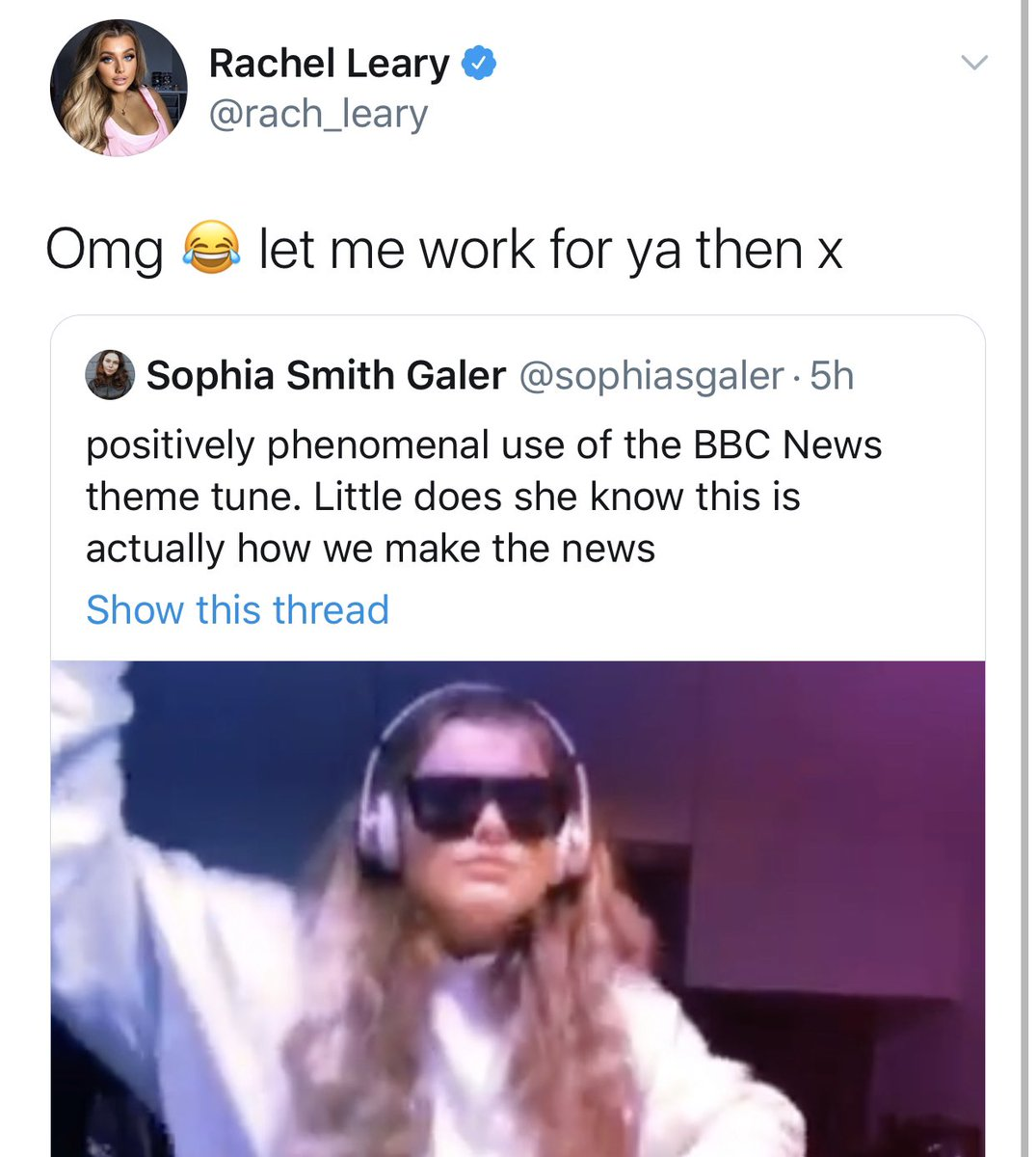 Sophia Smith Galer On Twitter Positively Phenomenal Use Of The Bbc News Theme Tune Little Does She Know This Is Actually How We Make The News