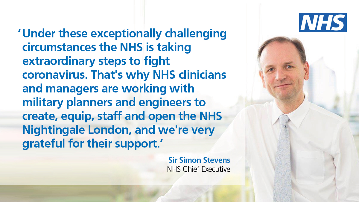 From next week, a new hospital will open to provide support for thousands more patients with #coronavirus. Based at @ExCeLLondon, NHS Nightingale will provide up to 500 beds equipped with ventilators and oxygen — with capacity increasing if needed. england.nhs.uk/2020/03/new-nh…