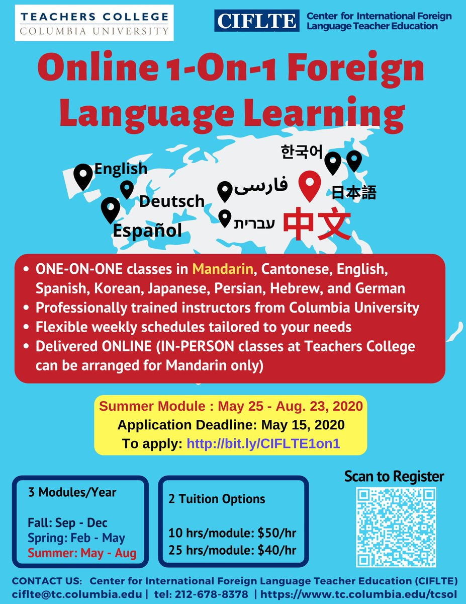 Stay safe, healthy, and productive with all your @onlinelearning. The summer module of our online #privatelessons of foreign language learning is scheduled from May 25 to August 23. Learn more about the program here: http://bit.ly/COF1-on-1 #learnalanguage #Summer2020pic.twitter.com/uWADFR3DPd