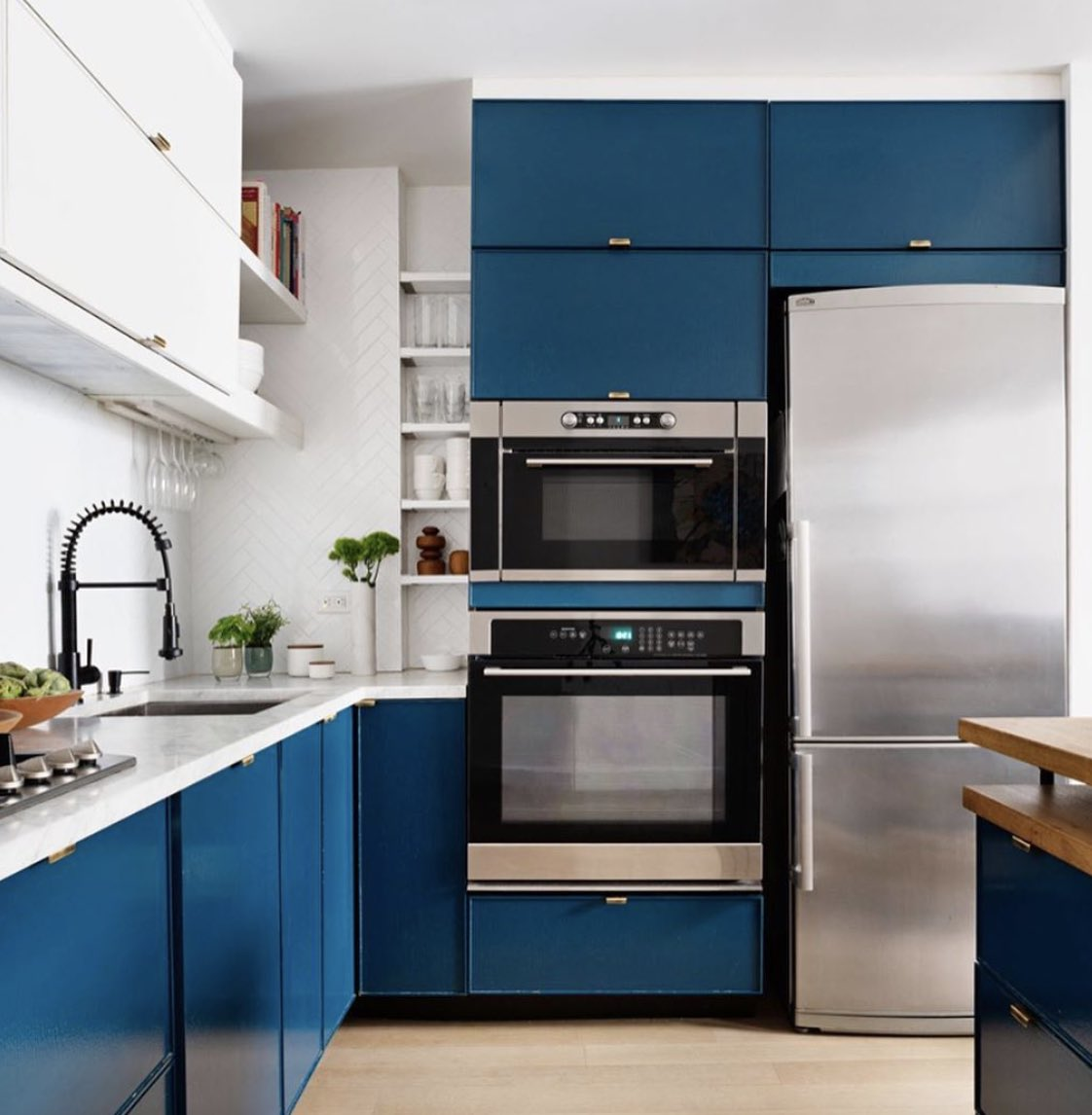 Aia Cran On Twitter With A Few Changes We Transformed A Cramped Kitchen Alcove Into A Proper Working Space We Finished Off The Kitchen With Peacock Blue Cabinets Crisp Herringbone Tile And