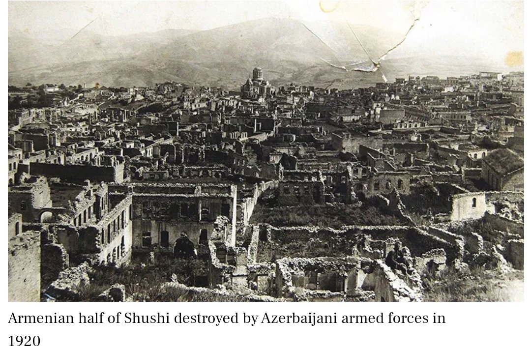 100 years ago, on March 23 1920, the authorities of the newly created #Azerbaijani Dem. Republic massacred the #Armenian population of #Shushi, the then administrative and cultural center of #Artsakh. #Karabakh #Shushapic.twitter.com/etgRNosz2E