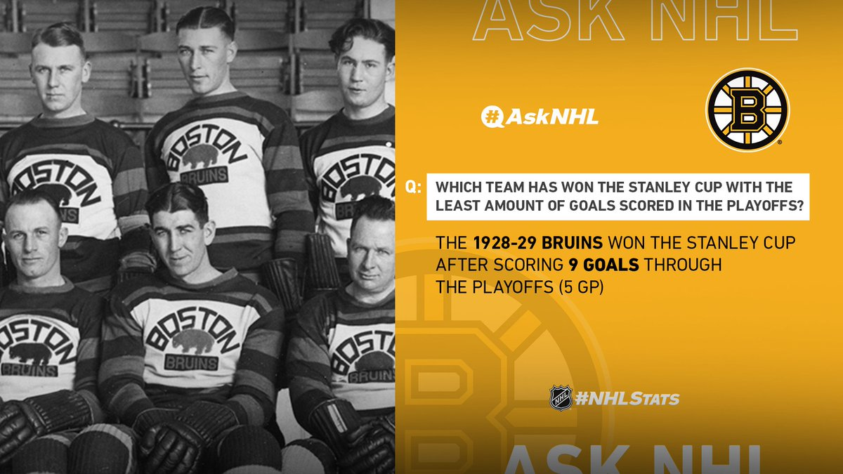 Nine goals earned the @NHLBruins their first #StanleyCup. #AskNHL #NHLStats twitter.com/LetsGoBs/statu…