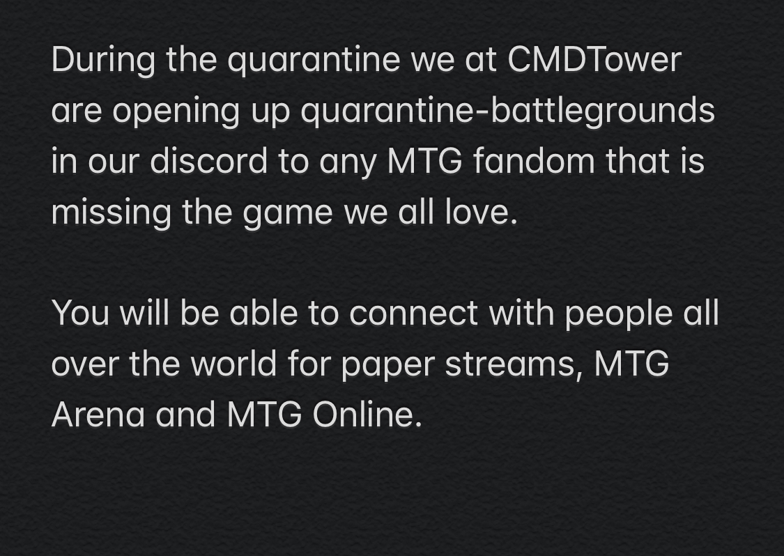 test Twitter Media - https://t.co/Bo8WYj53q4 @commandcast @thespikefeeders @MTGGoldfish @SheldonMenery @edhrec @CCOPodcast @CommanderSmiths @TolarianCollege @wizards_magic  #QuarantineLife #quarantinebattlegrounds  Please share and stay s https://t.co/RSy1bPVqna