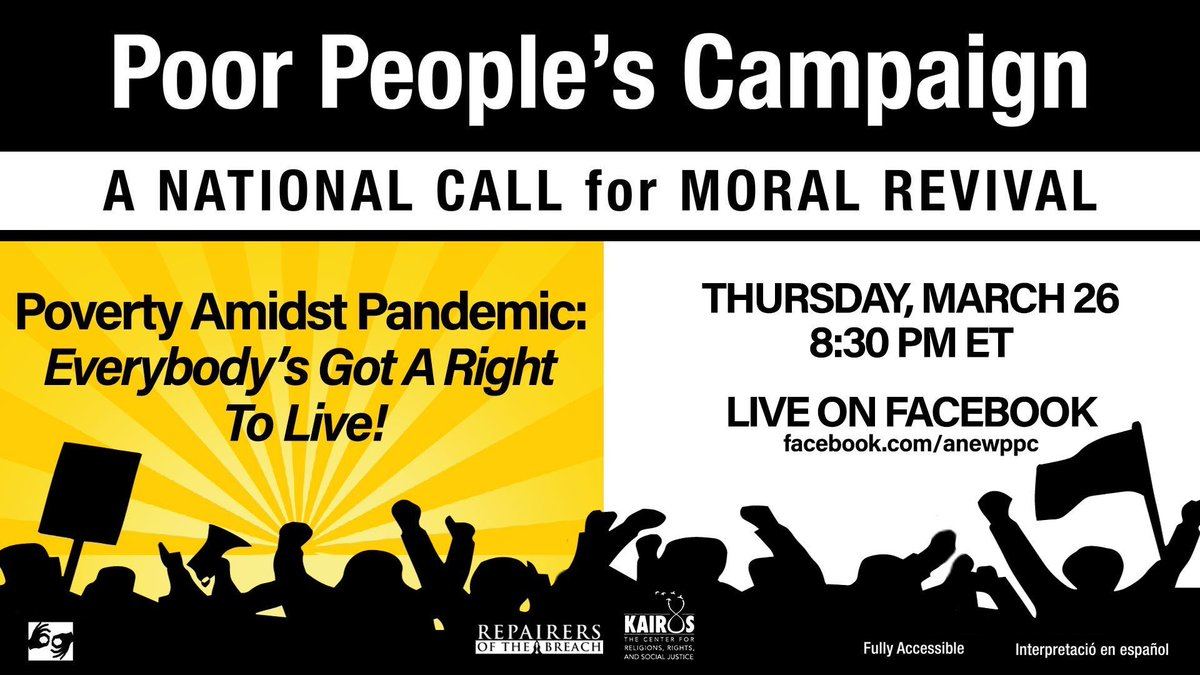 If not now, when?  We already had a crisis before this virus, just ask the 140 million who were already poor or low wealth. What's that number today?  3.3 million applied  for unemployment in 1 week.  How many just lost their health insurance? #UniteThePoor #PoorPeoplesCampaign