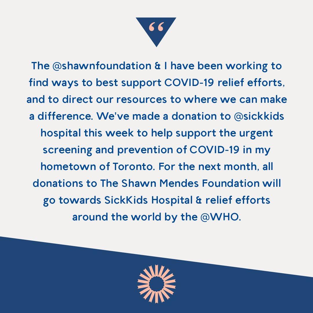 . shawnmendesfoundation.org @shawnfoundation @sickkids