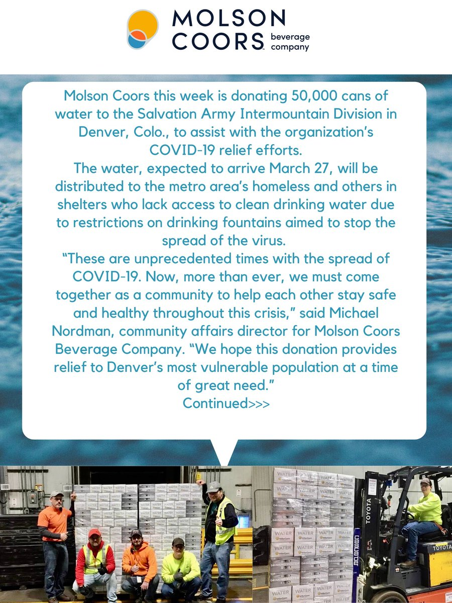 Due to #COVID19, Denver homeless shelters had to restrict access to the drinking fountains that provide fresh water to the area's homeless. So @MolsonCoors is stepping up, providing 50,000 cans of water to the Denver Salvation Army to help care for the homeless and those in need.