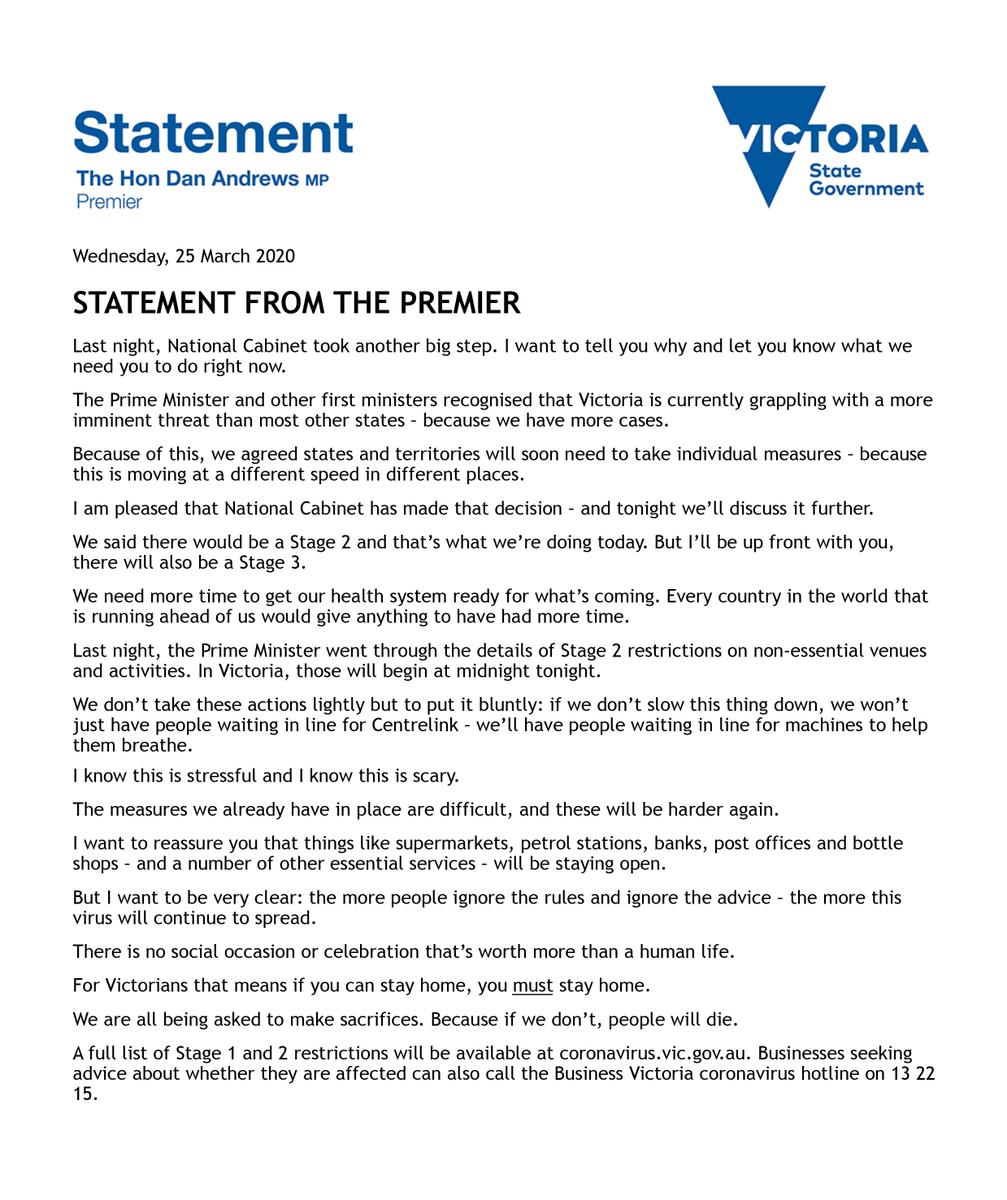Statement on Victoria's response to Coronavirus