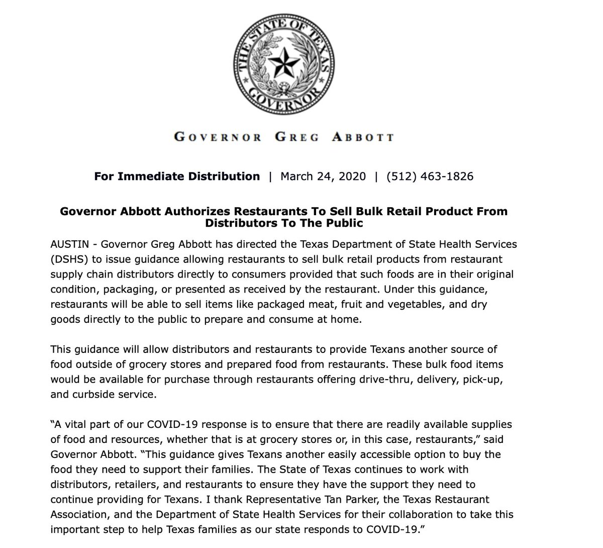 Good move here from @GovAbbott .