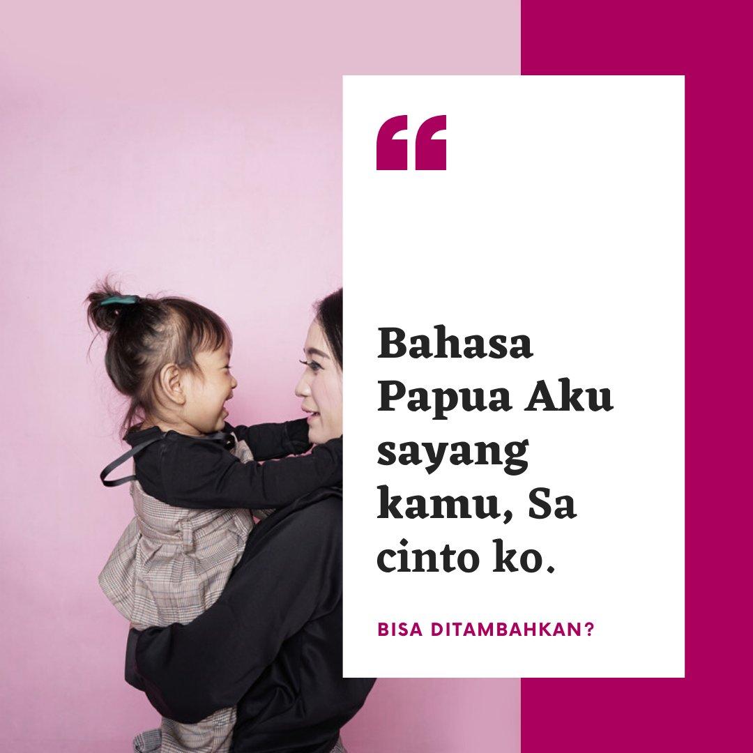 """Hanya dua yang bisa didapatkan """"aku sayang kamu"""" bahasa daerah di Papua  Sorong: Ata ama wamimi Papua: Sa cinto ko  #LestarikanBahasaDaerah #LestarikanBahasadanSastraDaerah #BahasaDaerah #SahabatBahasa #BahasaPapua #BahasaSorong #Bahasawan #PapuaBarat #ForumIndonesia #TahukahAndapic.twitter.com/tMhNcjp1lo"""