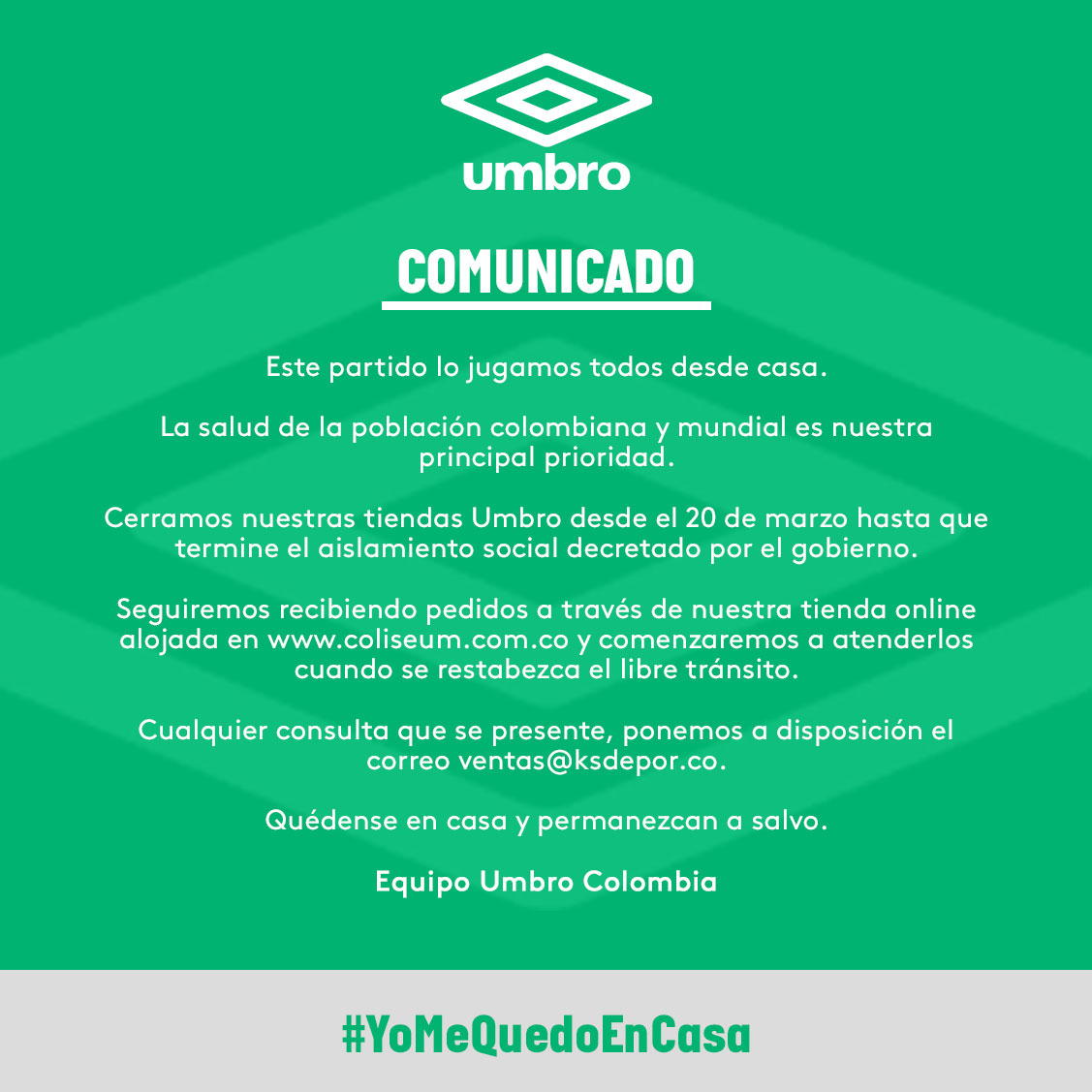 Este partido lo jugamos todos desde 🏠 #YoMeQuedoEnCasa https://t.co/1b5V7XG382