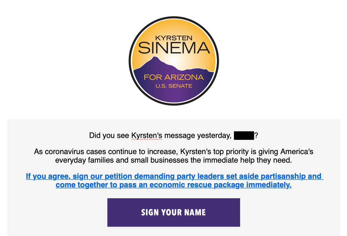 1/4 .@kyrstensinema is using Coronavirus to build lists for her re-election campaign.