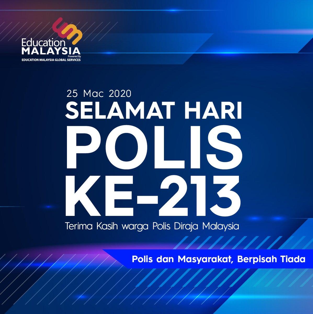 Kami di EMGS ingin mengucapkan Selamat Menyambut Hari Polis ke-213.  Semoga warga Polis Diraja Malaysia akan terus kental dan bersemangat memberi khidmat mereka demi menjaga kedaulatan, keselamatan, kesejahteraan rakyat dan negara Malaysia.  #EducationMalaysia #StudyinMalaysia pic.twitter.com/DJK9IGwRWe