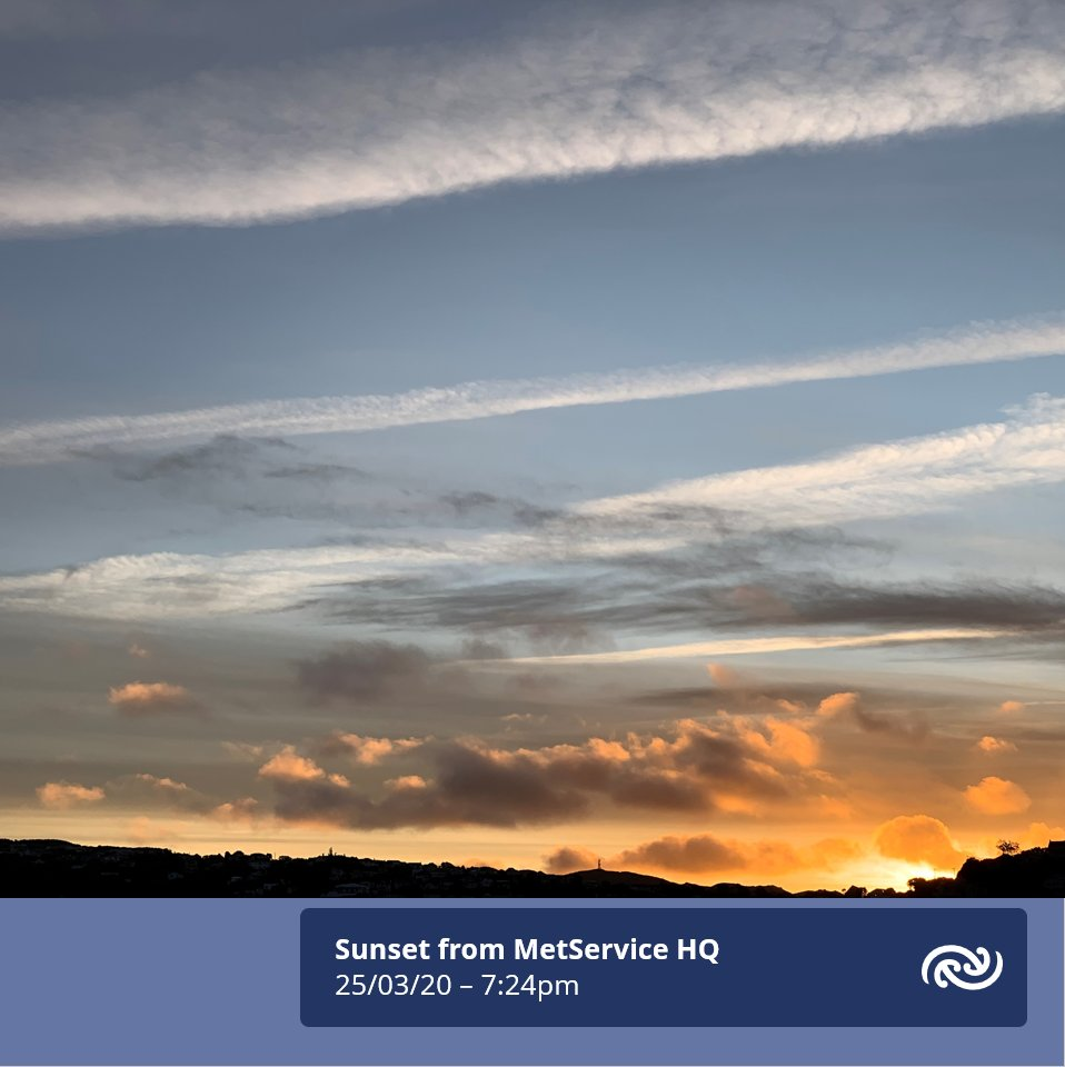 The sun has set this evening looking from MetService HQ in Kelburn, Wellington. Rest assured, our company will continue to bring you round the clock weather forecasts in the days and weeks ahead. Especially Severe Weather forecasts, including Watches and Warnings. Kia haumaru.^AB https://t.co/wbkz5cB9VE
