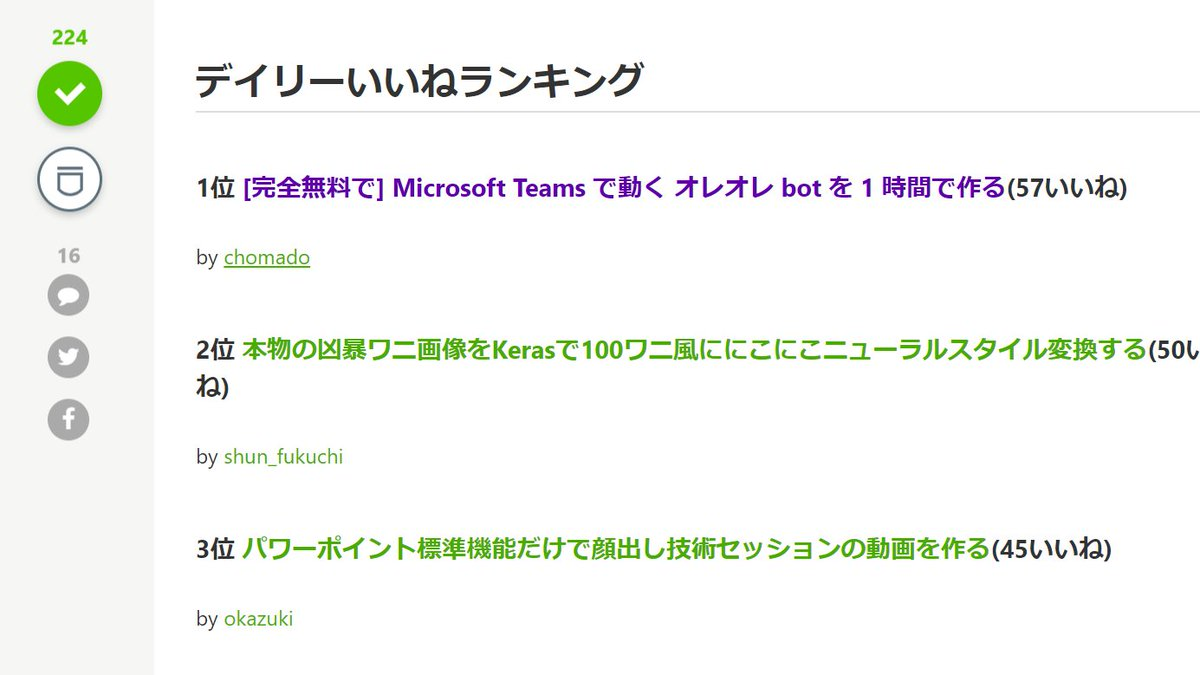今日書いた私の記事がQiita の デイリー いいね ランキング第一位になりました!😍たくさんの方に読んでいただけて嬉しいです、ありがとうございます!→ 『[完全無料で] Microsoft Teams で動く オレオレ bot を 1 時間で作る』 _